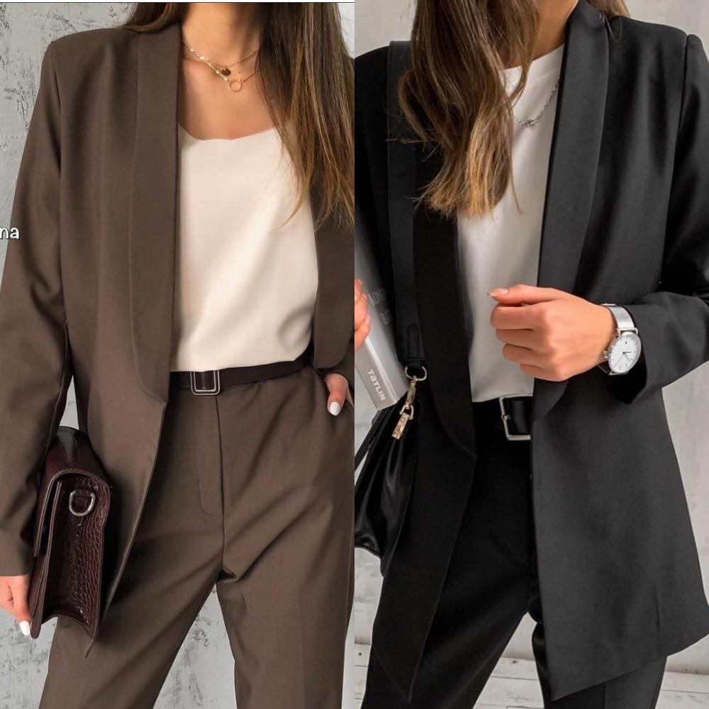 Пиджак женский, повседневный, офисный, удлиненный, стильный, отложной воротник, модный, без застежки