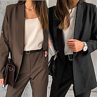 Пиджак женский, повседневный, офисный, удлиненный, стильный, отложной воротник, модный, без застежки, фото 1