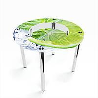 Стол обеденный на хромированных ножках Круглый с полкой Ice lime
