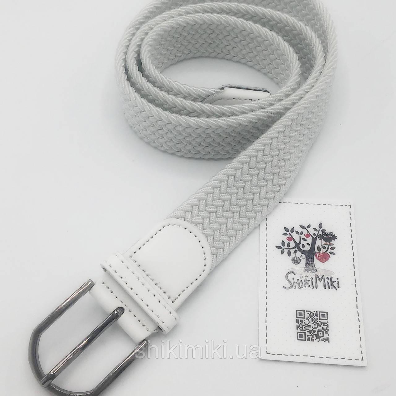 Ремень поясной  плетенка премиум резинка белый (3,5 см)