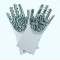Силиконовые многофункциональные перчатки для мытья и чистки Magic Silicone Glov Серый