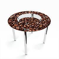 Стол обеденный на хромированных ножках Круглый с полкой Morning aroma