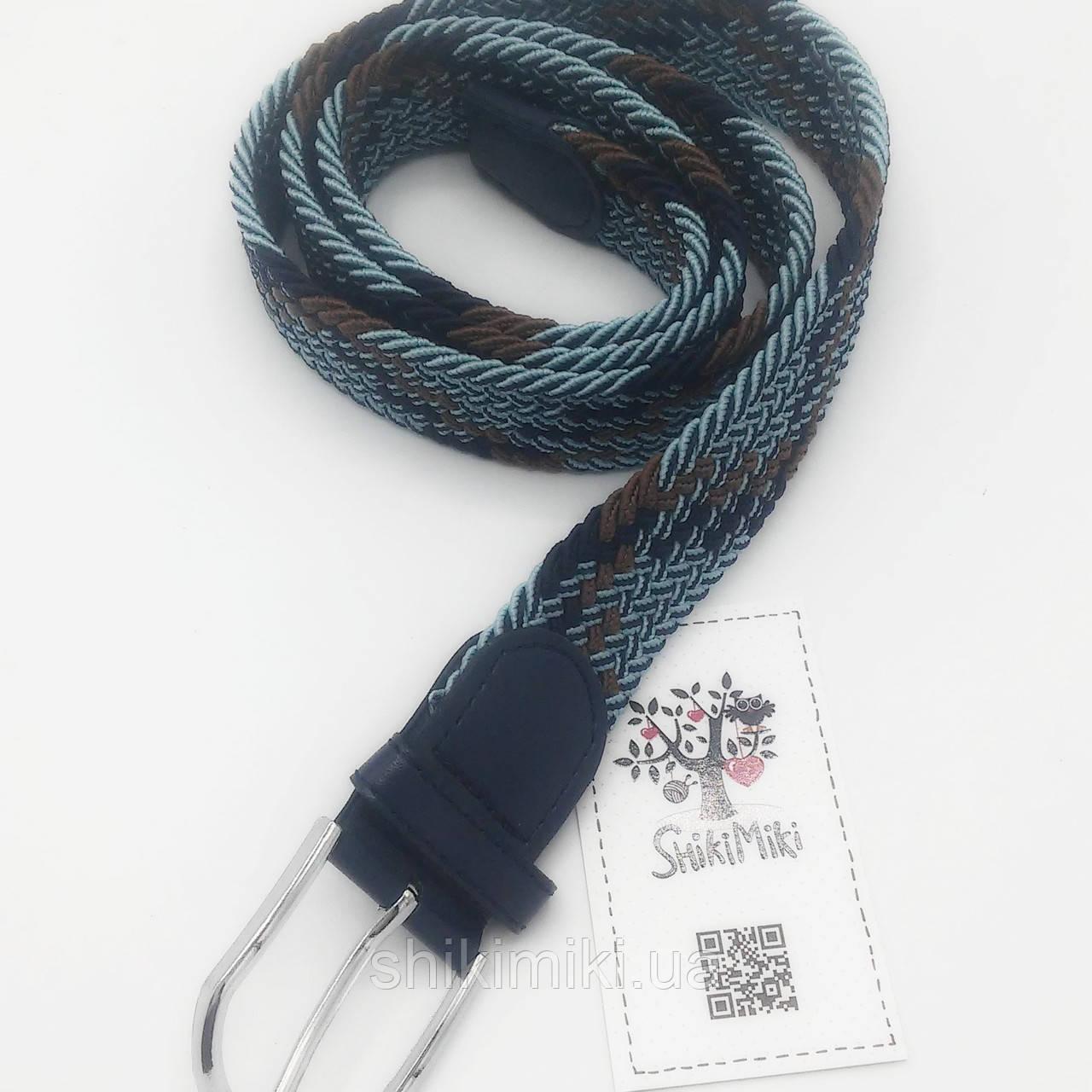 Ремень поясной  плетенка премиум резинка 3х цветный (3,5 см)