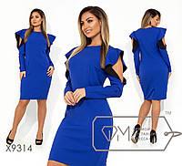 Ошатне стильне приталені сукні-міді батал з вирізом і воланом на довгому рукаві р. 42-54. Арт-3224/23, фото 1
