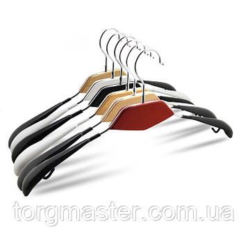 Вешалки плечики металлические в силиконе с деревянной вставкой разные расцветки, 43 см