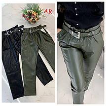 Женские брюки из экокожи высокой посадки с ремнем 42-46 р, фото 3