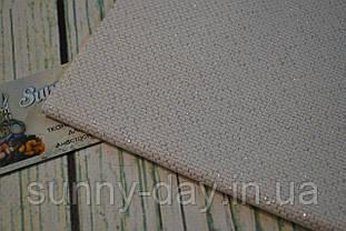Канва Аида 14, цвет - белый/люрекс серебристый  (29х29см)