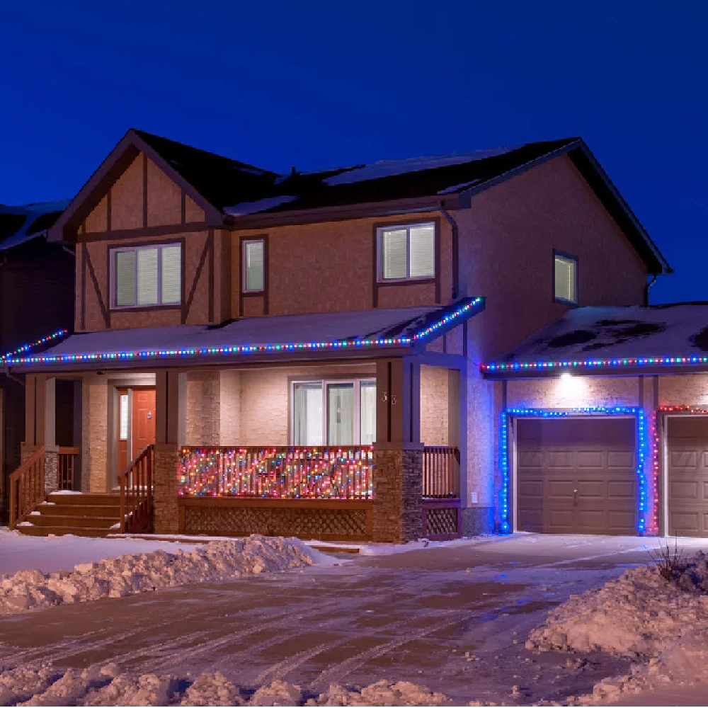 Уличная гирлянда дюралайт 20м. RGB трехжильный, круглый (Мультицвет), Гирлянда для украшения дома + адаптер
