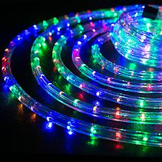 Уличная гирлянда дюралайт 20м. RGB трехжильный, круглый (Мультицвет), Гирлянда для украшения дома + адаптер, фото 3