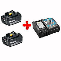 Два аккумулятора BL1830B + быстрозарядное устройство DC18RC Makita (DLXMUA182RC2)