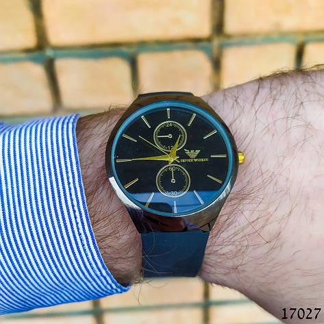 Часы мужские в стиле Armani. Мужские наручные часы черные. Часы с черным циферблатом Годинник чоловічий, фото 2