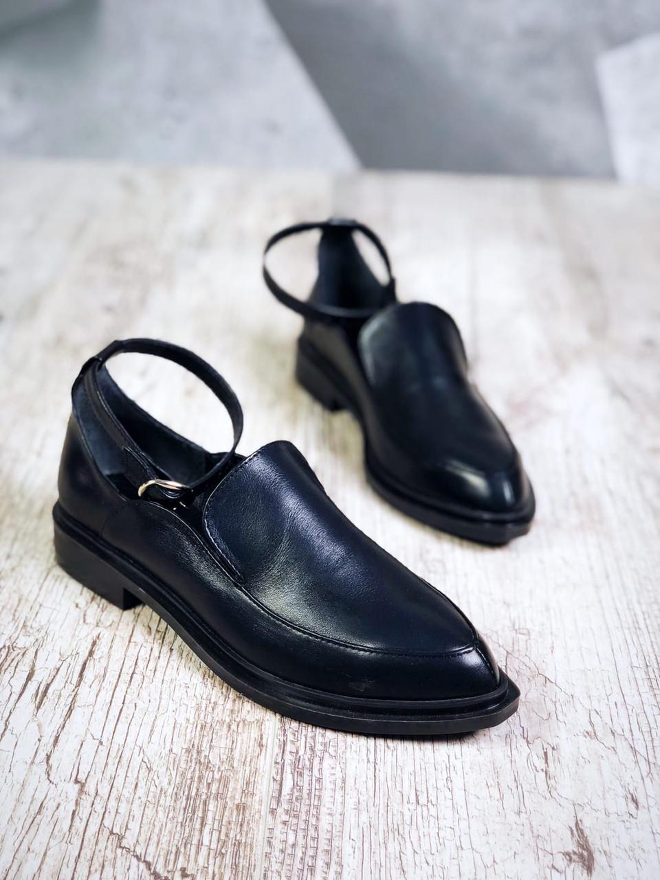 Кожаные классические туфли на низком ходу 36-40 р чёрный