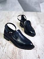 Кожаные классические туфли на низком ходу 36-40 р чёрный, фото 1