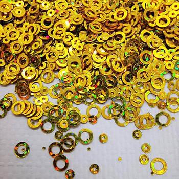 Глиттерные кружочки, золотые от 5г