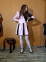 Трикотажна жіноча двокольорова сукня 2 стилі рожевий м'ята Женское трикотажное платье мята