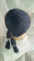 Шикарная шапка из вязаной норки. Цвет меха: светло-серый, чёрный