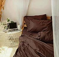 Постельное белье из ткани Страйп сатин Коричневый01