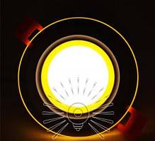 Встраиваемый LED Cветильник Сияние Lemanso LM1036 круг + стекло 6W 4500K + жёлтый 450Lm