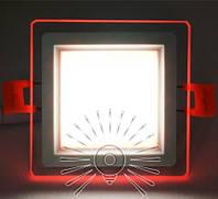 Встраиваемый LED Cветильник Сияние Lemanso LM1038 квадрат + стекло 6W 4500K + красный 450Lm