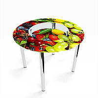 Стол обеденный на хромированных ножках Круглый с полкой Wood berry