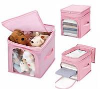 Органайзер для игрушек, одежды бамбук, розовый (123021)