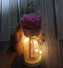Роза в колбе с Led подсветкой розовая, ночник, романтический подарок (Реальные фото!), фото 3