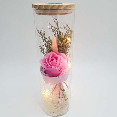 Роза в колбе с Led подсветкой розовая, ночник, романтический подарок (Реальные фото!)