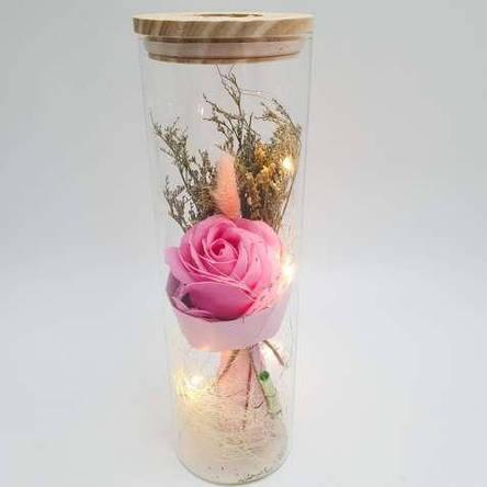 Роза в колбе с Led подсветкой розовая, ночник, романтический подарок (Реальные фото!), фото 2