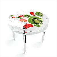 Стол обеденный на хромированных ножках Круглый с проходящей полкой Fruit&Milk