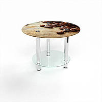 Журнальный стол круглый с полкой Coffee стеклянный