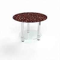 Журнальный стол круглый с полкой Coffee aroma стеклянный