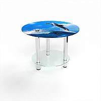 Журнальный стол круглый с полкой Dolphin стеклянный