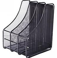 Лоток для бумаги тройной, вертикальный металл №307-C (сетка, черный цвет) 3004-3