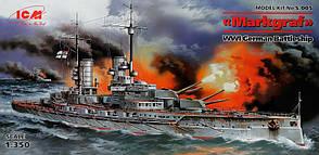 Немецкий линкор Markgraf. Сборная модель корабля в масштабе 1/350. ICM S005