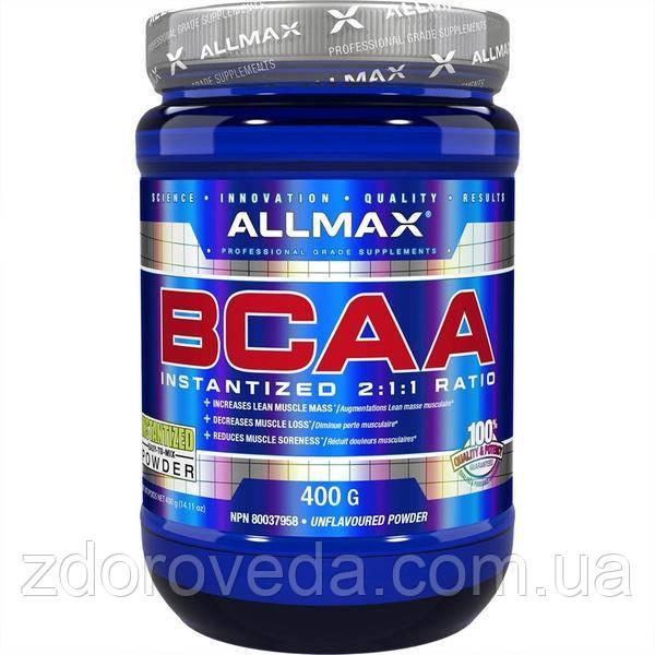 100% чистые аминокислоты с разветвленной цепью BCAA, 2:1:1, ALLMAX Nutrition, 400 гр.