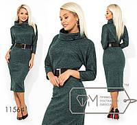 Теплое платье ниже колен из ангоры с напылением и поясом в комплекте. Арт-3227/23, фото 1