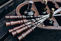 Шампур  с деревянной ручкой из нержавеющей стали  730*3*12 мм,комплект из 6 шт в колчане