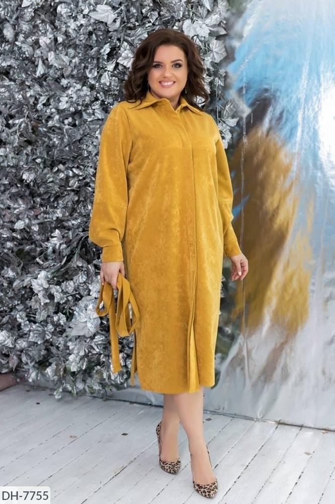 Женское замшевое платье под пояс ниже колен 48-54, 56-62