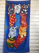 """Пляжное полотенце 75-150см велюр-махра. Турция, """"Смешные котята"""""""