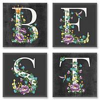 Набор для росписи по номерам Идейка полиптих 4 шт BEST в стиле лофт 18х18 см сложность 3