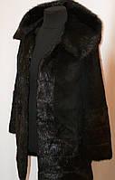Красивое  пальто из  меха нутрии с капюшоном и карманами