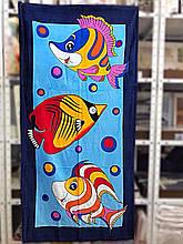 """Пляжное полотенце 75-150 см велюр-махра. Турция, """"Рыбки"""""""