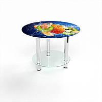 Журнальный стол круглый с полкой Sweet Mix стеклянный