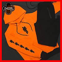 Спортивный костюм Мужской, худи с штанами оранжевого цвета.