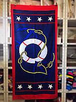 Пляжное полотенце 75-150 см велюр-махра. Турция, морская тематика