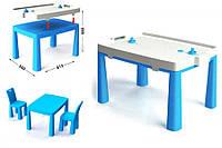 Столик и 2 стульчика ТМ Doloni 2в1 + хоккей, детский пластиковый столик и стульчики-табуреты