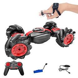 Трюковая машинка-багги перевертыш вездеход Красный (пульт+браслет на палец)