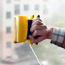 Магнитная щетка для мытья окон с двух сторон Glass Wiper Window Wizard, щетка для окон, мытье окон, фото 3
