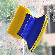 Магнитная щетка для мытья окон с двух сторон Glass Wiper Window Wizard, щетка для окон, мытье окон, фото 2