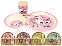 Набор детской бамбуковой посуды 5 предметов (тарелки, вилка, ложка, стакан) цвета ассорти MH-2772